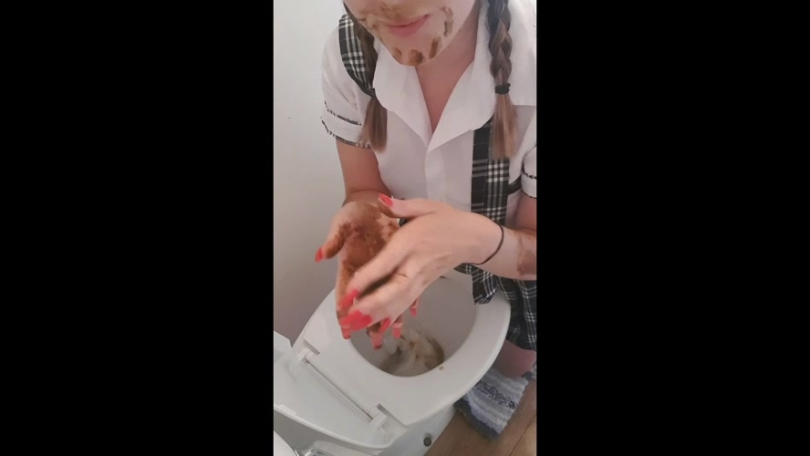 Schoolgirl plays with poop out of toilet - HD 1280x720 - (Actress: CremeDeLaJen  2019)